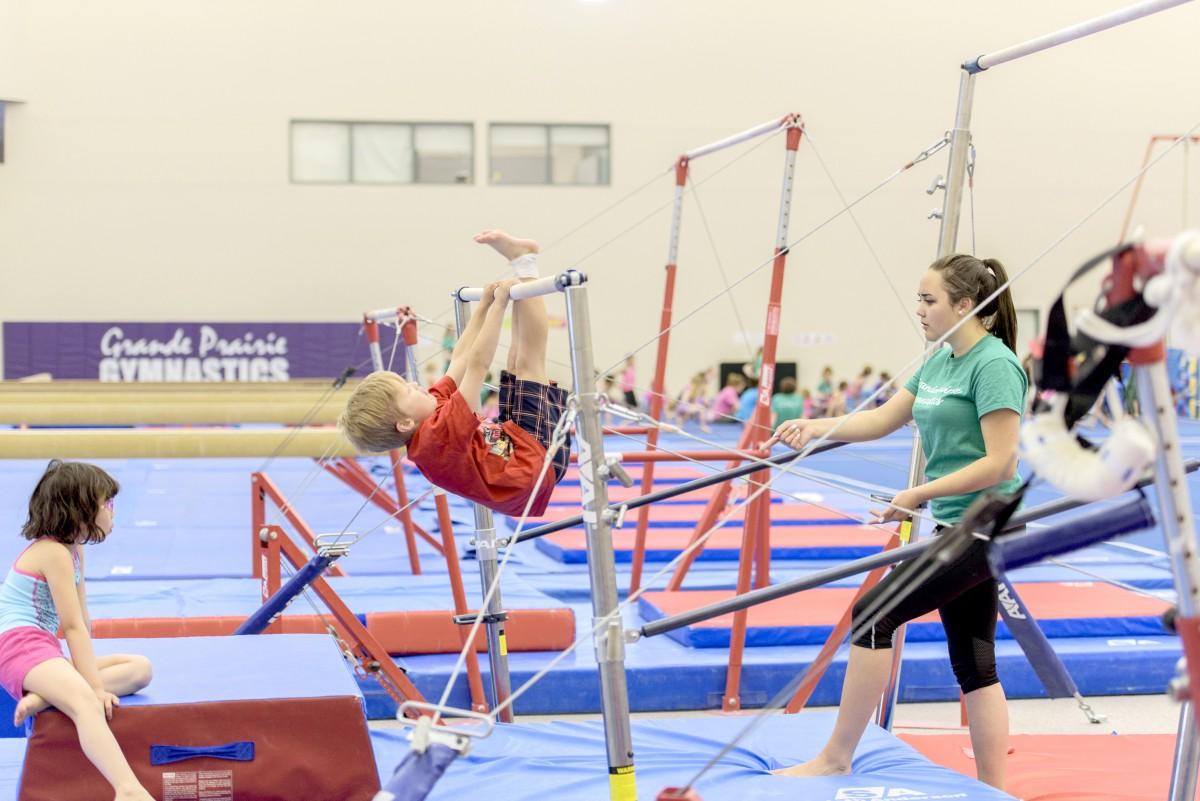 Gymnasts in activity