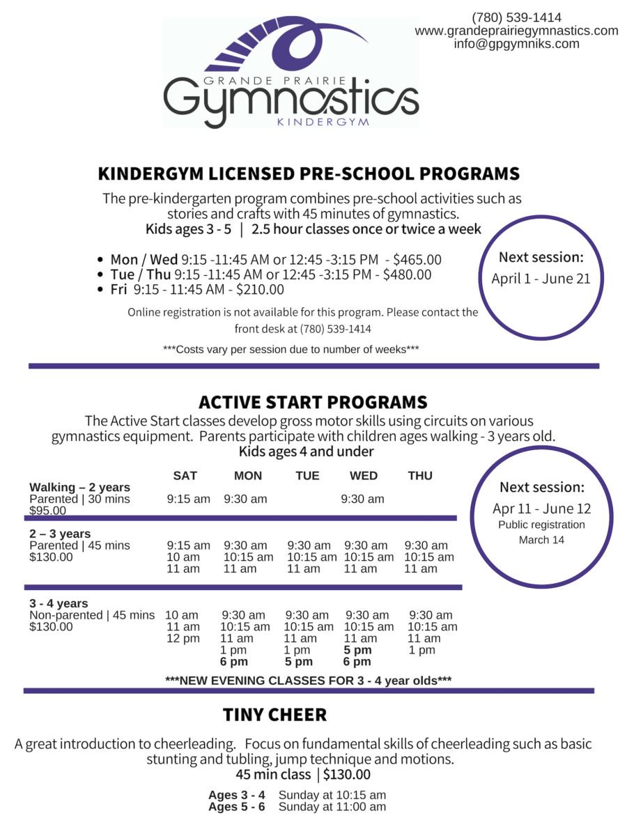 Pre-school Programs - Session 4   - Grande Prairie Gymnastics
